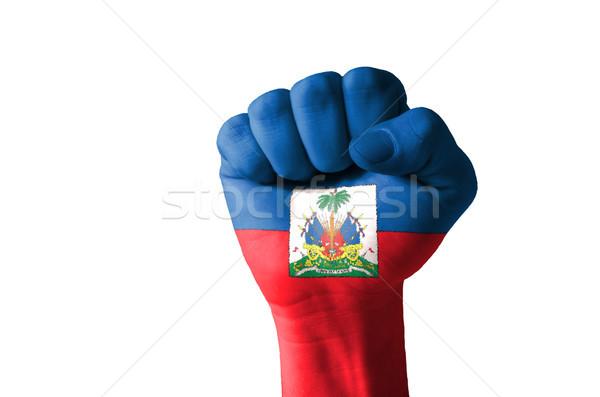 Punho pintado cores Haiti bandeira baixo Foto stock © vepar5
