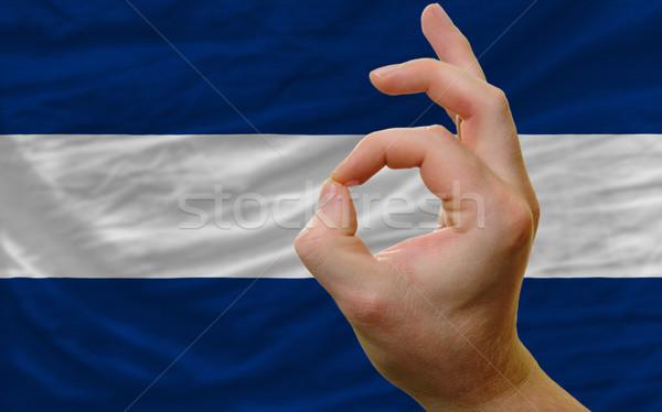 Ok kézmozdulat Nicaragua zászló férfi mutat Stock fotó © vepar5