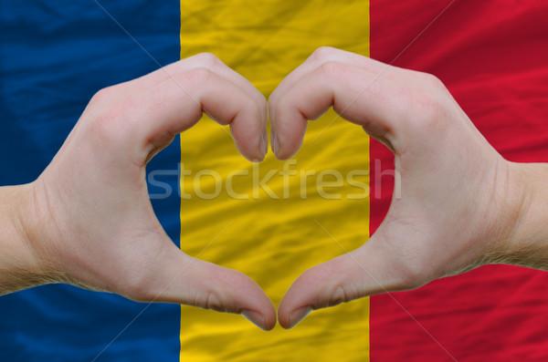 Coração amor gesto mãos bandeira Romênia Foto stock © vepar5