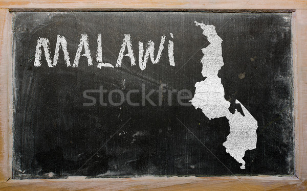 outline map of malawi on blackboard  Stock photo © vepar5