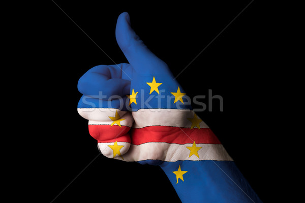 cape verde national flag thumb up gesture for excellence and ach Stock photo © vepar5