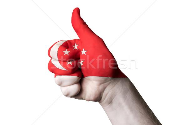 Cingapura bandeira polegar para cima gesto excelência Foto stock © vepar5