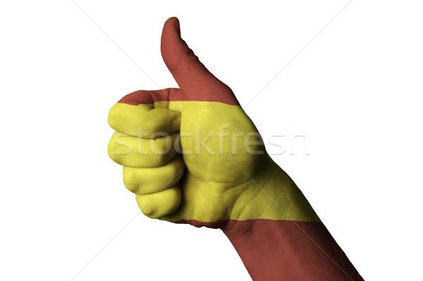 Spanyolország zászló hüvelykujj felfelé kézmozdulat kiválóság Stock fotó © vepar5