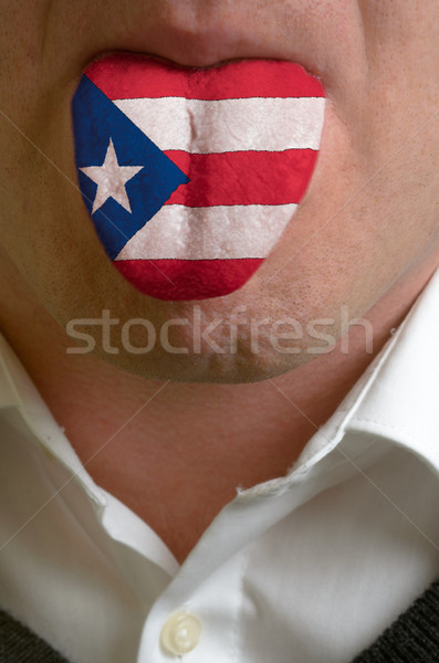 man tongue painted in puerto rico flag symbolizing to knowledge  Stock photo © vepar5