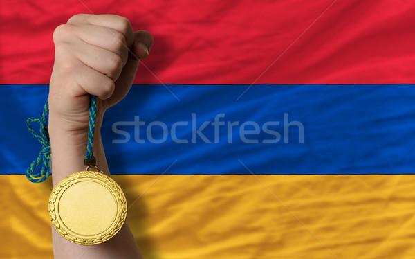 Gouden medaille sport vlag Armenië winnaar Stockfoto © vepar5