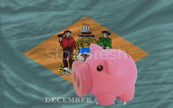 Stockfoto: Rijke · bank · vlag · amerikaanse · Delaware