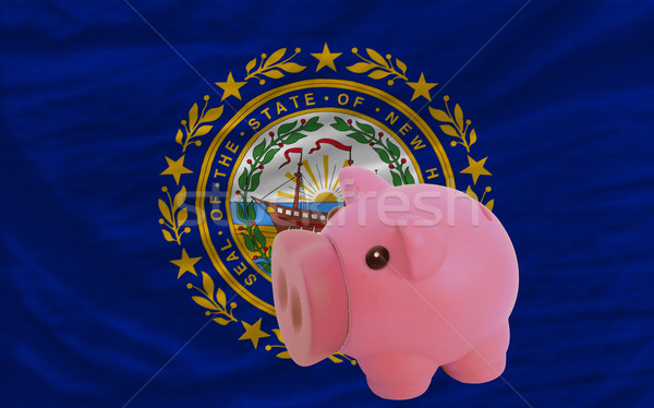 piggy rich bank and  flag of american state of new hampshire    Stock photo © vepar5