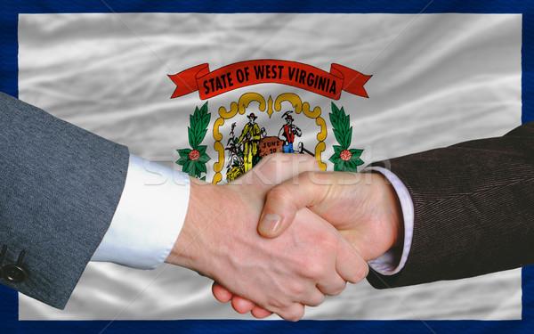 Amerikai zászló Nyugat-Virginia kettő üzletemberek kézfogás Stock fotó © vepar5