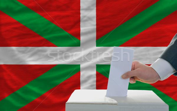 Adam seçimler bayrak oylama kutu Stok fotoğraf © vepar5