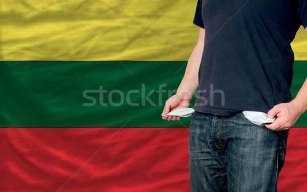 Recesszió fiatalember társadalom Litvánia szegény férfi Stock fotó © vepar5