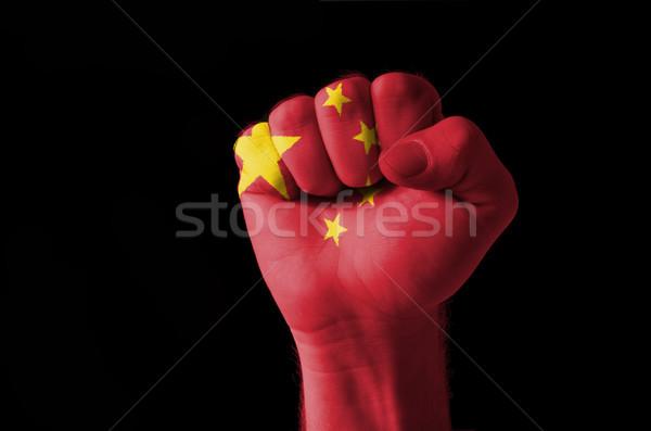 ököl festett színek Kína zászló alacsony Stock fotó © vepar5