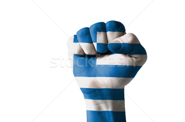 Fist painted in colors of greece flag Stock photo © vepar5