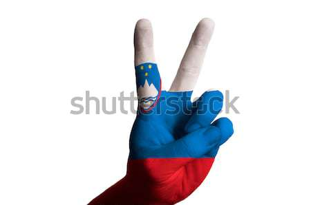 russia national flag two finger up gesture for victory and winne Stock photo © vepar5