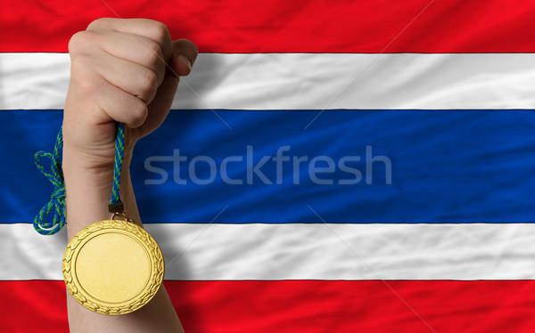 Aranyérem sport zászló Thaiföld nyertes tart Stock fotó © vepar5
