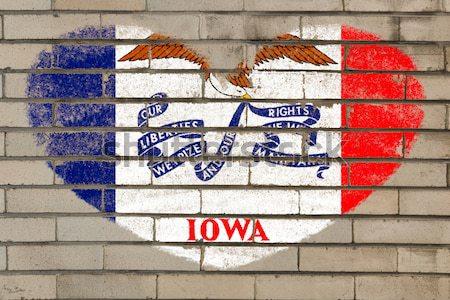 Гранж флаг Айова кирпичная стена окрашенный мелом Сток-фото © vepar5