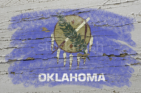 flag of US state of oklahoma on grunge wooden texture precise pa Stock photo © vepar5