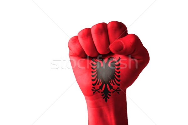 Punho pintado cores Albânia bandeira baixo Foto stock © vepar5