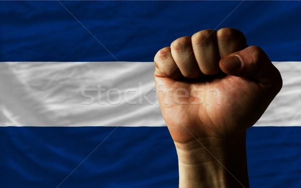 Vuist Nicaragua vlag macht compleet geheel Stockfoto © vepar5