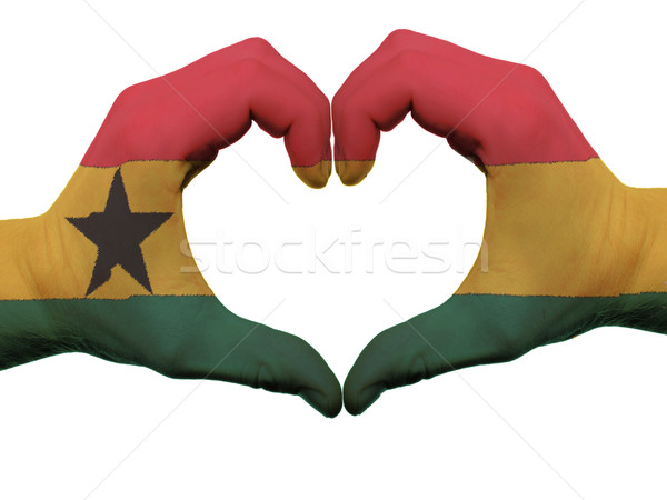 Heart and love gesture in ghana flag colors by hands isolated on Stock photo © vepar5