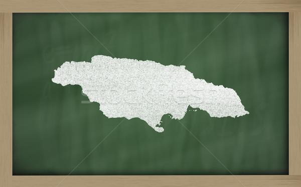 Schets kaart Jamaica Blackboard tekening Stockfoto © vepar5