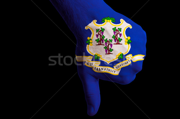 connecticut us state flag thumbs down gesture for failure made w Stock photo © vepar5