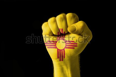 Stock photo: new mexico us state flag thumbs down gesture for failure made wi