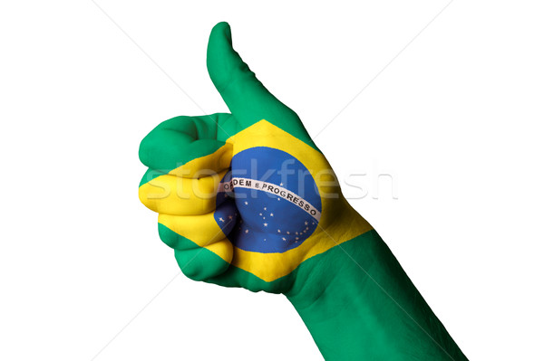 brazil national flag thumb up gesture for excellence and achieve Stock photo © vepar5