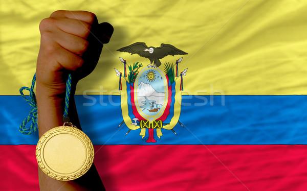 Altın madalya spor bayrak Ekvador kazanan Stok fotoğraf © vepar5