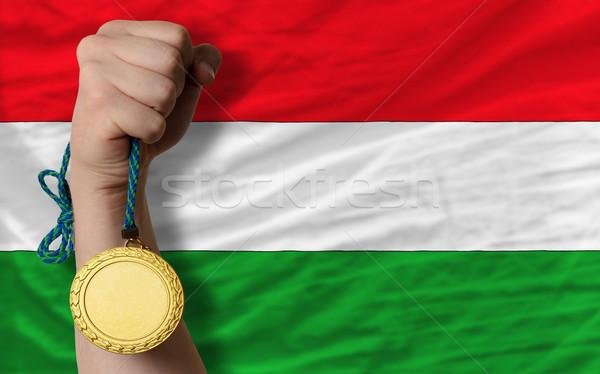 Aranyérem sport zászló Magyarország nyertes tart Stock fotó © vepar5