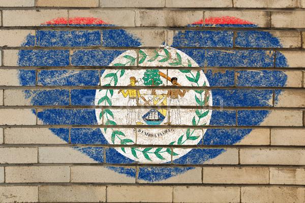 Szív alak zászló Belize téglafal szív alakú Stock fotó © vepar5