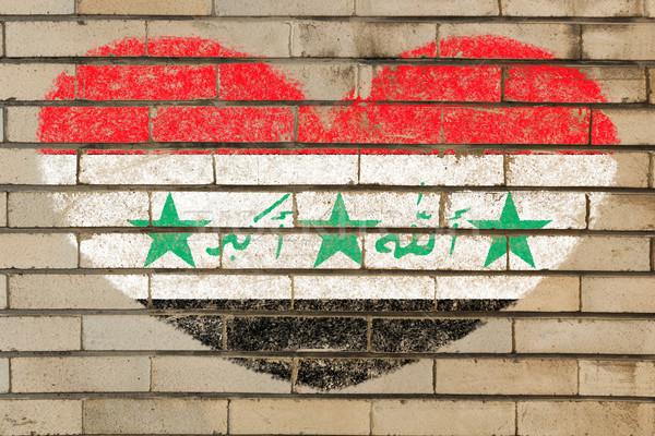 Hartvorm vlag Irak muur hart Stockfoto © vepar5