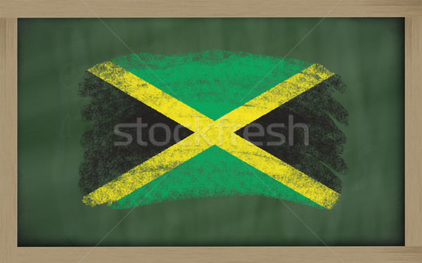 national flag of jamaica on blackboard painted with chalk Stock photo © vepar5