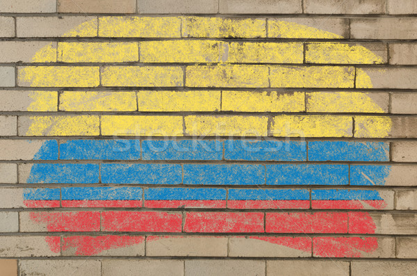 flag of Columbia on grunge brick wall painted with chalk   Stock photo © vepar5