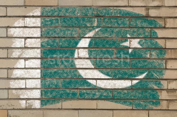 Zászló Pakisztán grunge téglafal festett kréta Stock fotó © vepar5