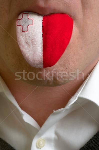 Foto stock: Hombre · lengua · pintado · Malta · bandera · conocimiento