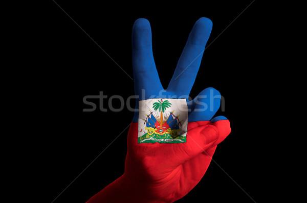 Haiti bayrak iki parmak yukarı jest Stok fotoğraf © vepar5