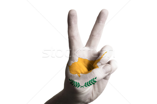 cyprus national flag two finger up gesture for victory and winne Stock photo © vepar5