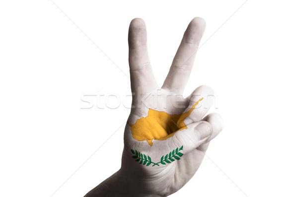 Cypr banderą dwa palec w górę gest Zdjęcia stock © vepar5