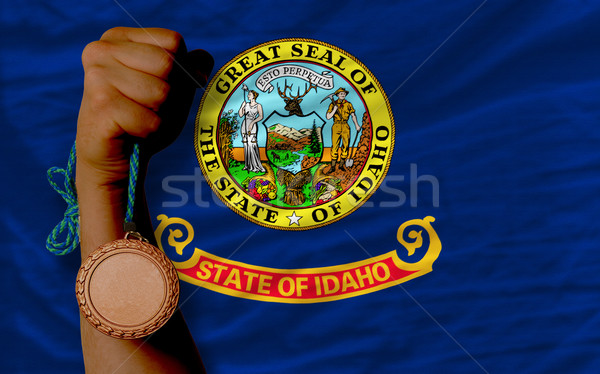 Bronze medal for sport and  flag of american state of idaho    Stock photo © vepar5