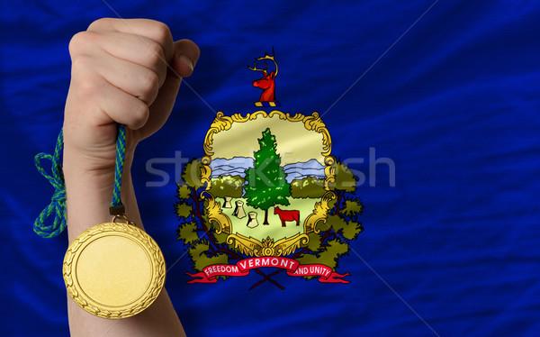 Medalha de ouro esportes bandeira americano Vermont vencedor Foto stock © vepar5