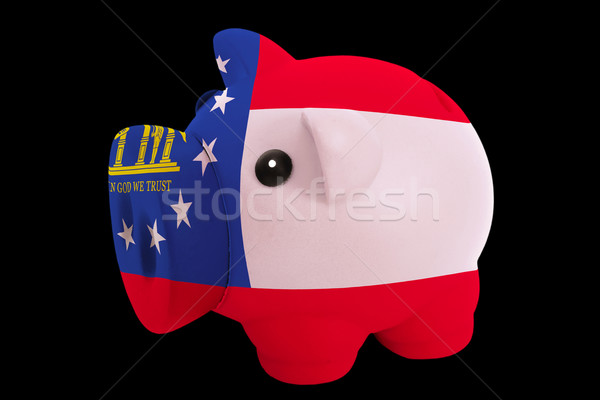 piggy rich bank in colors flag of american state of georgia   fo Stock photo © vepar5