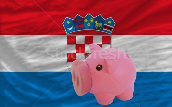 piggy rich bank and  national flag of croatia    Stock photo © vepar5