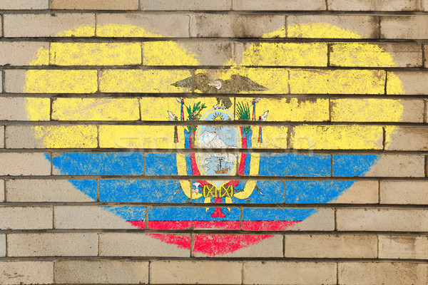 A forma di cuore bandiera Ecuador muro di mattoni cuore Foto d'archivio © vepar5