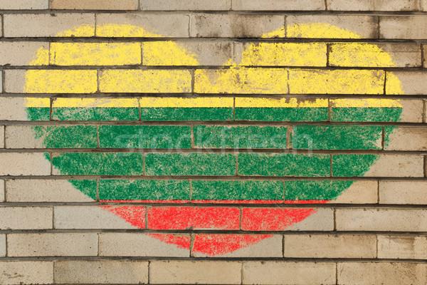 формы сердца флаг Литва кирпичная стена сердце Сток-фото © vepar5