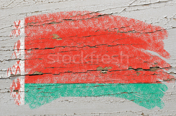 flag of belarus on grunge wooden texture painted with chalk   Stock photo © vepar5