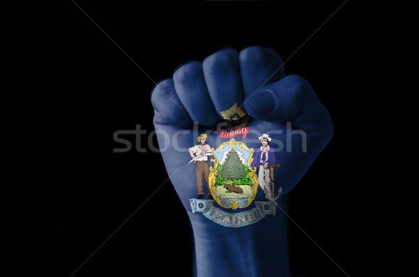 Pięść malowany kolory Maine banderą niski Zdjęcia stock © vepar5