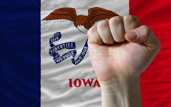 Zászló Iowa ököl teljes amerikai egész Stock fotó © vepar5