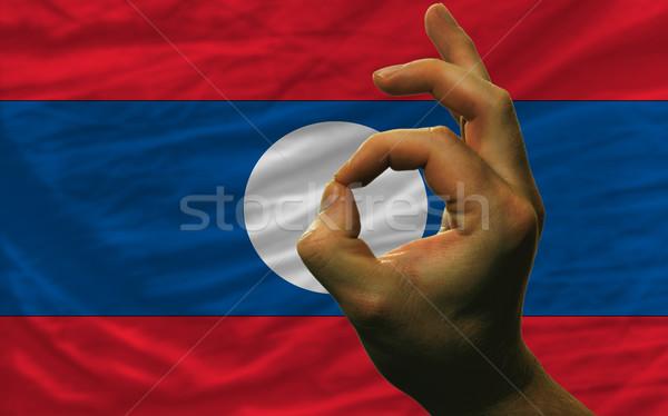 Gest Laos banderą człowiek Zdjęcia stock © vepar5