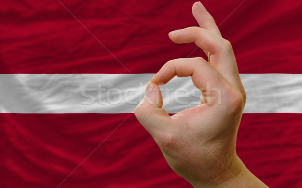 Ok kézmozdulat Lettország zászló férfi mutat Stock fotó © vepar5
