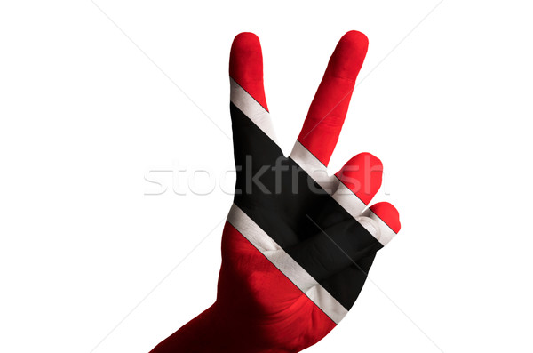 trinidad tobago national flag two finger up gesture for victory  Stock photo © vepar5